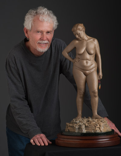 gary mcelhaney and his bronze nude female sculpture